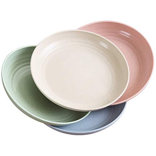 Cabilock 4 Piezas 9 Pulgadas Platos de Paja de Trigo 4 Platos de Cena Familiares de Color Set Platos para Niños Irrompibles Platos para Niños Pequeños para Niños Pequeños