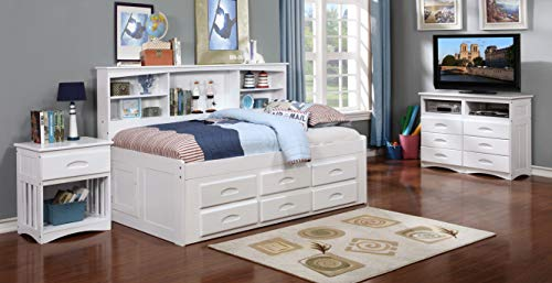 Twin Bookcase Day Bed with 6 Drawer Under Bed Storage in White Finish