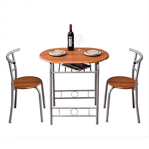 HSTD Esstisch Set , Brown Wood Grain PVC Frühstückstisch , Esszimmermöbel Set für Zuhause, Büro, Küche, Balkon, Garten (EIN Tisch und Zwei Stühle)