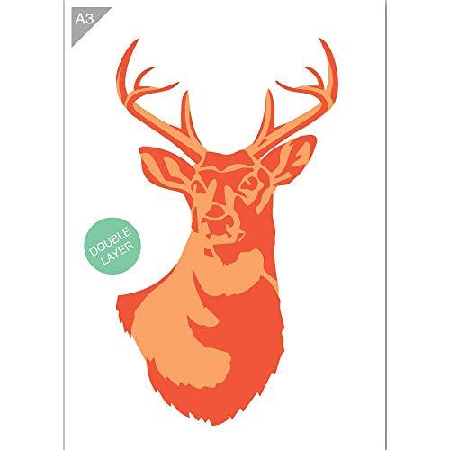 QBIX Deer Head Schablone, Hirsch Schablone - 2 Schichten A3 Größe - wiederverwendbare Kinder freundlich DIY Schablone zum Malen, Backen, Basteln, Wand, Möbel