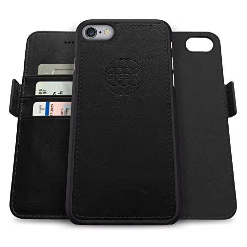 dreem Fibonacci 2 en 1 Funda iPhone 6/6s Plus Cuero Vegano Tipo Billetera   Funda Magnética Desmontable a Prueba de Golpes TPU Fino   Protección RFID  Caja de Regalo   Negro