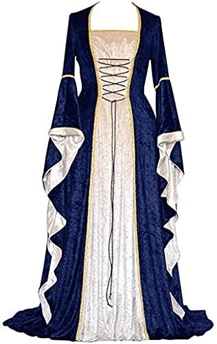 Vestido medieval de Halloween de bruja Vintage Celtic Vestido largo Cosplay Gtico Disfraces, Azul marino/flor y brillo, XX-Large