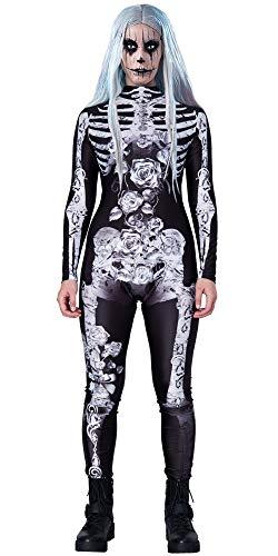 Loveternal Mujer Disfraz de Halloween 3D Esqueleto Body Zipper Monos Manga Larga Silver X-Ray Bones Rose Diamond Stretch Catsuit Trajes de Cosplay M