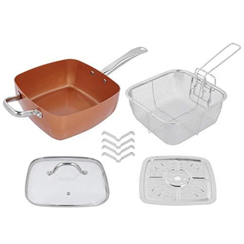 Gatuxe Sartén Cuadrada, Olla de Cocina, Antiadherente multifunción 4 Piezas/Juego para Hacer Sopa para freír Carne Suministros de Cocina con Filtro Plegable