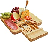 Bamboo Cheese Board and Knife Set by Harcas. Best for Serving Cheese, Crackers, Salami and Food. Size: 33cm x 33cm x 3.5cm
