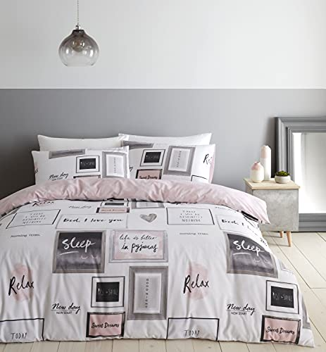 Catherine Lansfield Sleep Dreams - Set copripiumino per letto matrimoniale, facile da...
