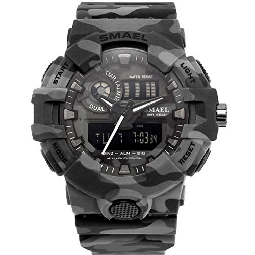 SMAELBand Tarnungs Digitalmilitäruhr Light S Shock Herrenuhr wasserdichte LED Sportuhren Herren,Gray