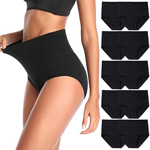 Women's High Waist Cotton Underwear Stretch Briefs Soft Comfy Ladies Panties Multipack
