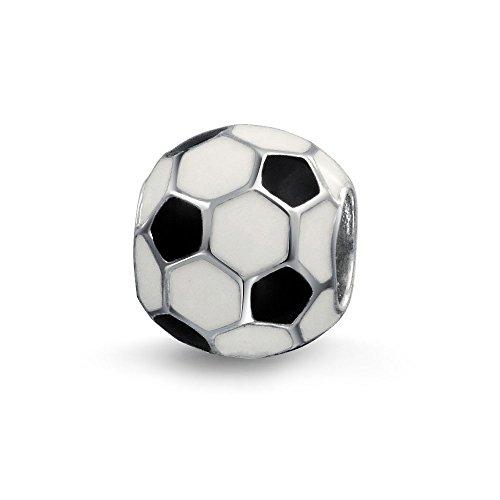 Bianco Nero Palla Calcio Mom Giocatore Di Calcio Sport Atletici Cordone Di Fascino Per Donne Argento Sterling