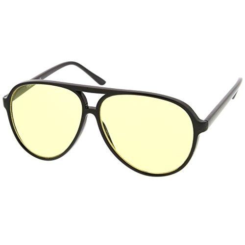 zeroUV - Retro Large Plastic Aviator Sunglasses with Yellow Blue Blocking Driving Lens (Black/Yellow)