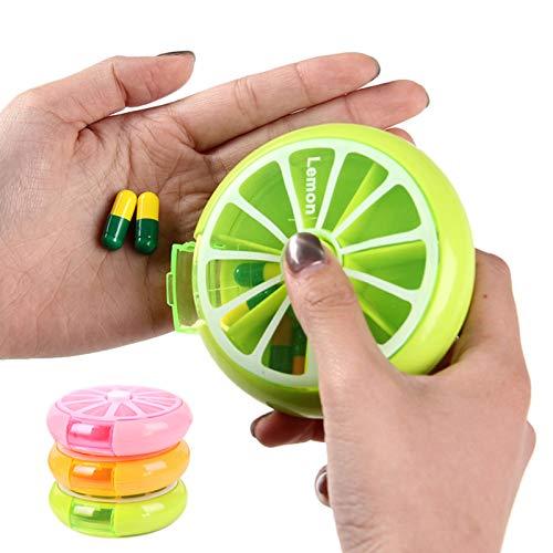 ZXCV Rotating 7 Days Pill Container, Lemon Pill Box Splitter, Medicine Box Travel Dispenser,D
