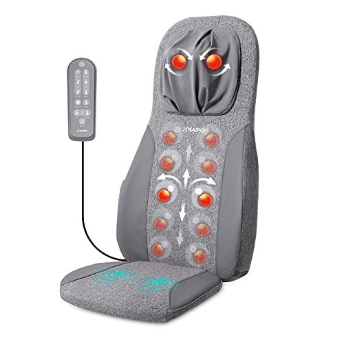Naipo Massagesitzauflage Elektrisches Rückenmassagegerät Massagematte Shiatsu Massageauflage mit Wärmefunktion und Vibrationsmassage, Tiefenmassage Rollmassage