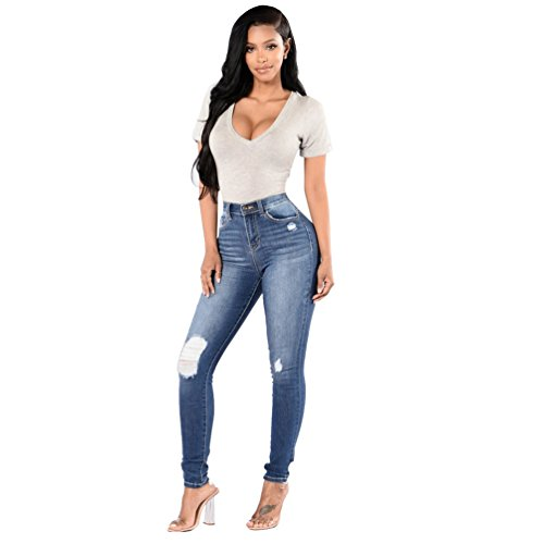 Sentao Donna Skinny Jeans Slim Fit Denim Strappato Matita Pantaloni