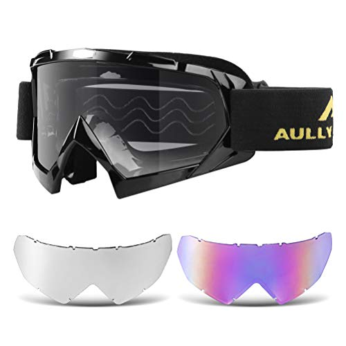 AULLY PARK Motorcycle Goggles, Dirt Bike Goggles Grip For Helmet, ATV Motocross Mx Goggles Glasses with 3 Lens Kit Fit for Men Women Youth Kids