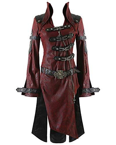 Rave Punk Shadow Veste pour homme Rouge/noir-Steampunk-manteau en similicuir Style gothique - Rouge - Rouge, XXX-Large