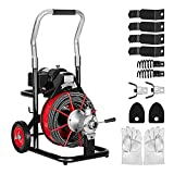 Drain Cleaner Machine 100Ft x 3/8'' 370W Electric Drain Auger Plumbing Snake Fit 1'' to 4'' Pipes Drain Cleaning with Safety Foot Switch Control Lever for Sewer Toilets Sink Floor Drains
