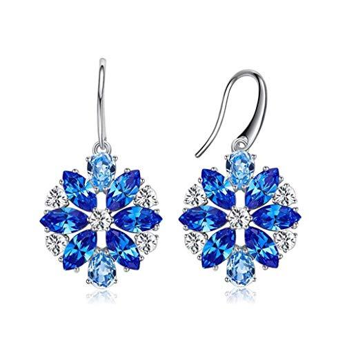 WJCCY Lungo Matrimonio Gioielli da Sposa Bella Dazzle Crystal ciondola l'orecchino di Moda Placcato Argento (Color : A)