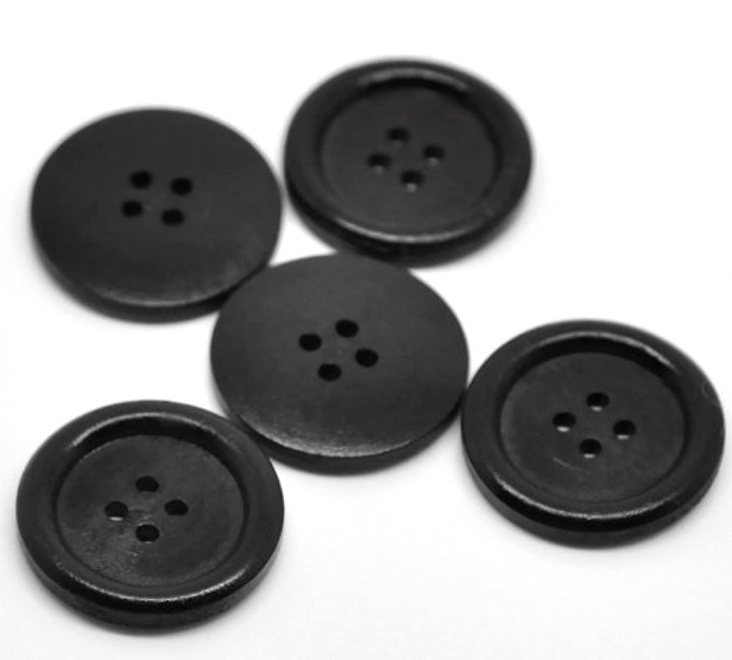 PEPPERLONELY Brand 30PC Black 4 Hole Scrapbooking Sewing Wood Buttons 30mm(1-1/6 Inch)