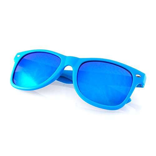 Emblem Eyewear - Moda Occhiali Da Sole Vintage Lente Nuovo Uomo Moda Donna Telaio Retrò Fresco (Lente Speculare   Blu)
