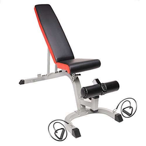 PRISP Adjustable Weight Bench with Resistance Bands for Home Gym