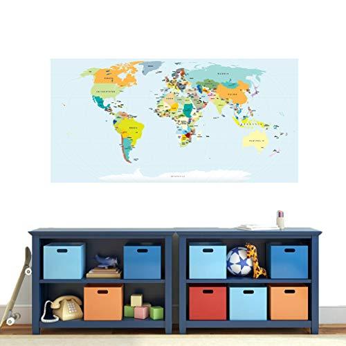 Mapa del mundo Atlas – Pegatinas impresas para habitación de niños y guarderías, aulas, sala de juegos, hogar, oficina, familia, sala de estar