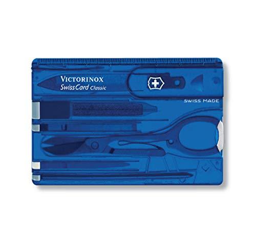 Victorinox Taschenmesser Swiss Card (10 Funktionen, Schere, Kugelschreiber) blau transparent