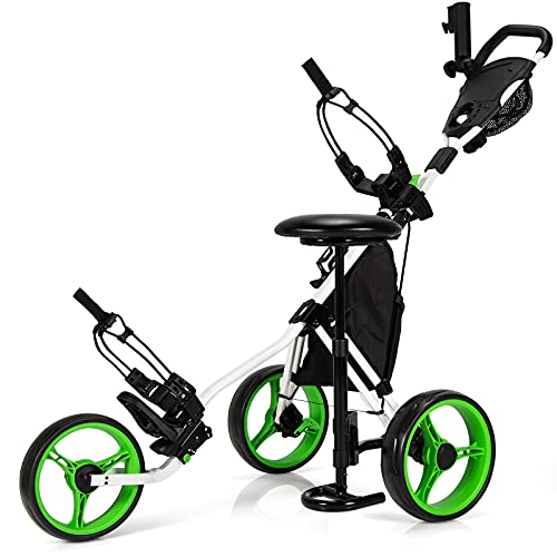 Tangkula Golf Push Pull Cart with Seat, Lightweight Folding 3 Wheels Golf Push Cart, Golf Trolley W/Storage Bag, Foot Brake, Adjustable Umbrella Holder & Seat, 4 Height Position Handle (Green)