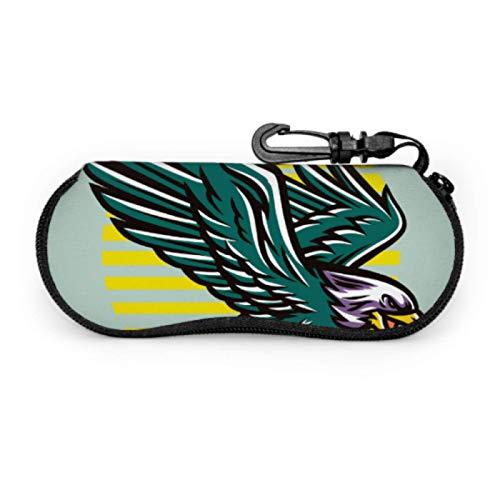 Estuche para gafas, Flying Eagle Mascot Gafas de sol Estuche blando Estuche ultraligero de neopreno con cremallera Estuche para anteojos con mosquetón, Estuche para anteojos