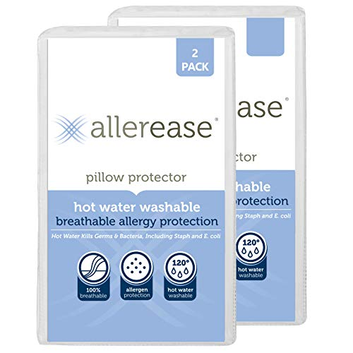 AllerEase Hot Water Washable Zippered Pillow Protector,...