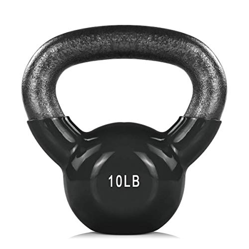 Core,Strength Training Kettlebell Weight Vinyl Coated Cast Iron Kettlebell Exercise Fitness Kettlebell Grip Hand Kettle ball Weight Set 10//15//20lb Kettlebell for Women Men Home Gym Workout Ballistic