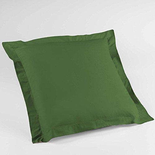 douceur d'intérieur 1642619 Taie d'Oreiller, Coton, Vert Sapin, 63 x 63 cm