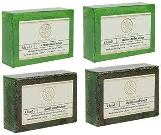 Khadi Natural Organic Soap Combo (2 Neem Tulsi Soap + 2 Basil Scrub)