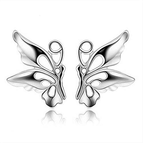 Pendientes Mujer Pendientes De Botón De Plata De Ley 925, Bonitos Pendientes De Mariposa Ahuecados, Joyería De Mujer