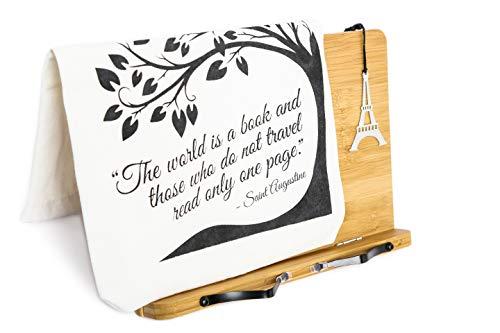 Tabletständer Buchständer aus Bambus-Holz, 3er Set inkl. Tragetasche & Lesezeichen, verstellbarer Leseständer für Küche, Schule & Büro - Ideal als Kochbuchhalter