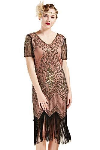 ArtiDeco 1920s Kleid Damen Flapper Kleid mit Kurzem Ärmel Gatsby Motto Party Damen Kostüm Kleid (Koralle Gold, M (Fits 80-86 cm Waist))