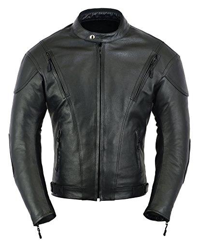 Chaqueta de protección para Moto de Moto de Cuero de Impacto para Hombre, XL