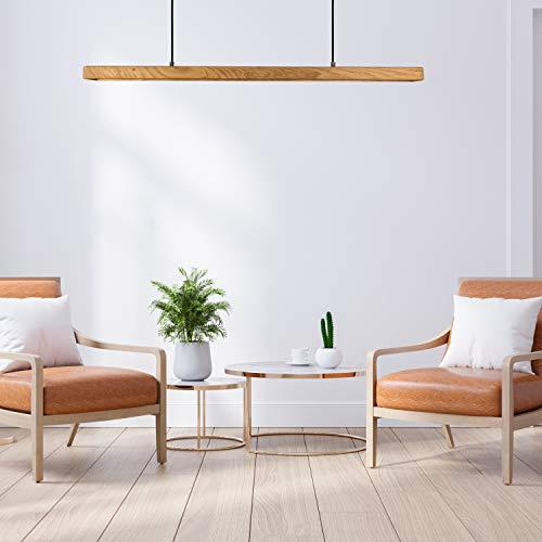 Minimalistische Pendelleuchte aus Eichen Kernholz - Die super helle Lampe für den Esstisch in der Küche oder den Schreibtisch im Büro - LED Warmweiß, 4000 Lumen