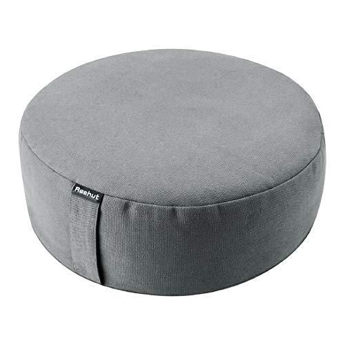 REEHUT Yogakissen Meditationskissen Rund, Yoga Sitzkissen Durchmesser 33cm/Höhe 11,5 cm aus Baumwolle und Buchweizenschalen