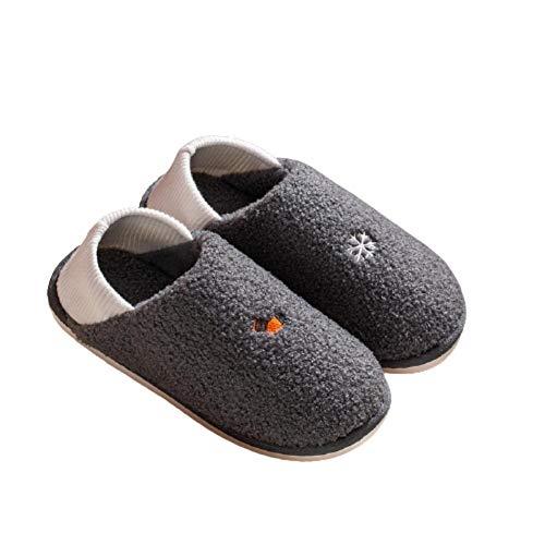 Y-PLAND Zapatos de confinamiento cálidos de Suela Blanda Antideslizantes, Bolsos de Mujer y Pantuflas de algodón para Interiores de otoño e Invierno, Pantuflas de Felpa-Gris Oscuro_UK8-9