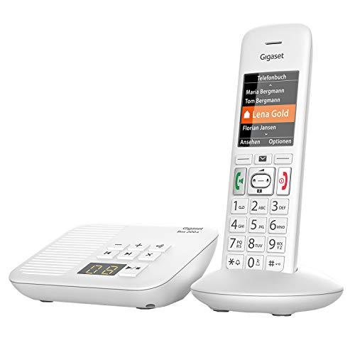 Gigaset E370A - Schnurloses Seniorentelefon mit Anrufbeantworter - großes Farbdisplay - SOS-Notruffunktion mit 4 Rufnummern - Verstärker-Funktion für extra lautes Hören - großes Adressbuch, weiß