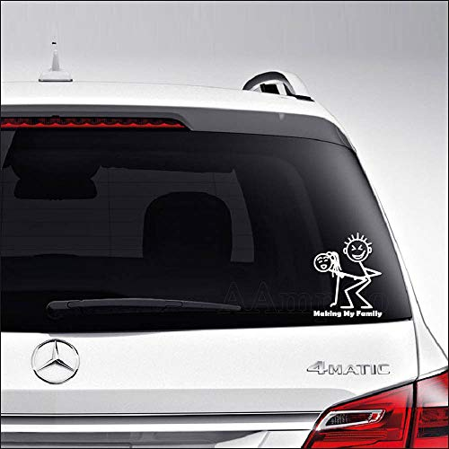 Aampco Decals Making My Family Stick Figure Funny Sex Car Truck Motorcycle Windows Bumper Wall Decor Vinyl Decal Sticker Size- [6 inch/15 cm] Tall/Color- Matte White