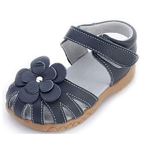 Mädchen Geschlossene Leder Sandalen Baby Lauflernschuhe mit Klettverschluss Sommer Kinderschuhe,Blau,Gr.23