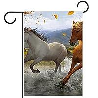 ウェルカムガーデンフラッグ(28x40in)両面垂直ヤード屋外装飾,油絵の馬