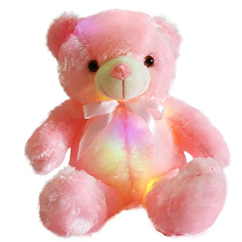 WEWILL Creative Light Up LED Inductive Teddy Bear Stuffed Animals Plush Toy Colorful Glowing