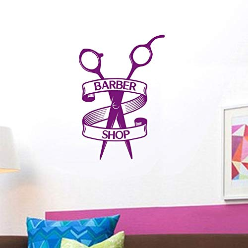 ASFGA Einzigartige stilvolle Friseur Aufkleber Salon Aufkleber benutzerdefinierte Vinyl Wandkunst Dekoration Fensterdekoration Friseur Rasiermesser Glas Friseur Aufkleber Farbe 42X60cm