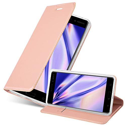 Cadorabo Hülle für Nokia 6 2017 in Classy ROSÉ Gold - Handyhülle mit Magnetverschluss, Standfunktion & Kartenfach - Hülle Cover Schutzhülle Etui Tasche Book Klapp Style