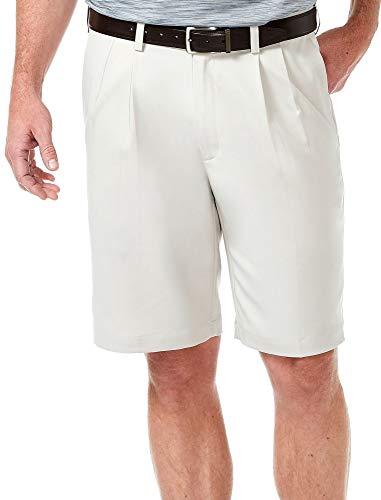 Haggar Men's Cool 18 Expandable Waist Plain Front Plaid Short string 38