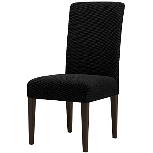 Subrtex Stretch Dining Room Chair Slipcovers (4, Black Jacquard)