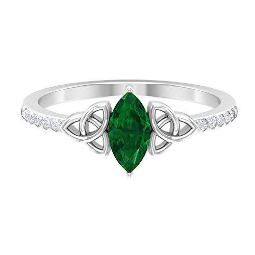 Anillo de esmeralda con forma de marquesa de 8x4 mm, anillo de diamante HI-SI, anillo de compromiso con nudo celta para mujer, 14K Oro blanco, Size:EU 60
