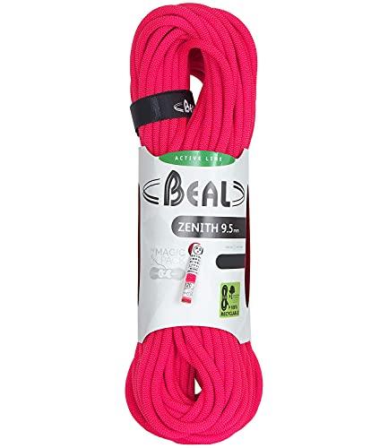 Beal Zenith 9.5mm 60m Solid Pink Corda Singola per Arrampicata falesia Alpinismo Vie alpinistiche Diametro 9.5mm Lunghezza 60 Metri Colore Solid Pink 60